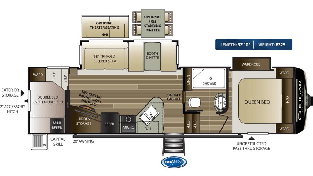 Keystone Cougar Half-Ton 29RDB Floorplans