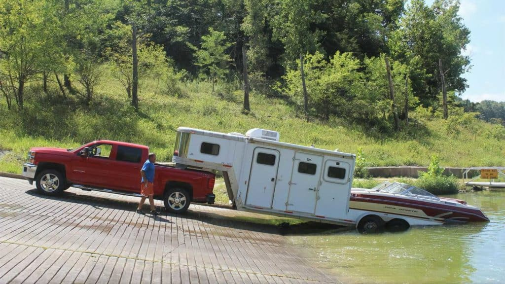 boat behind travel trailer