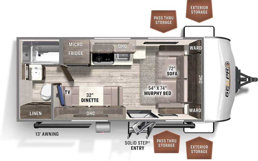 Forest River Rockwood Geo Pro 19FD Floorplan