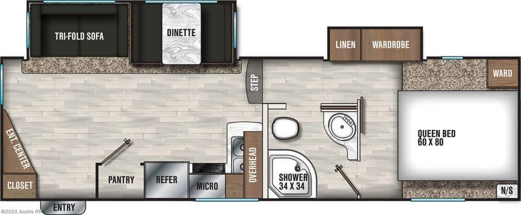 Chaparral Lite 25MKS Floorplan