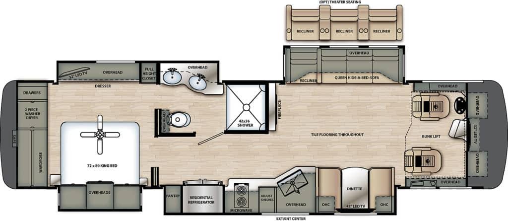 Forest River Berkshire XL 37A Floorplan