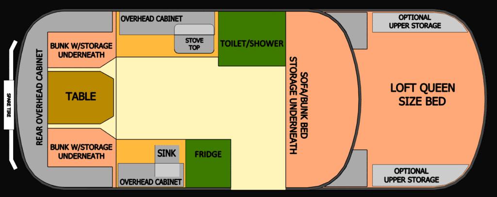 Scamp 19' Fifth Wheel Floorplan