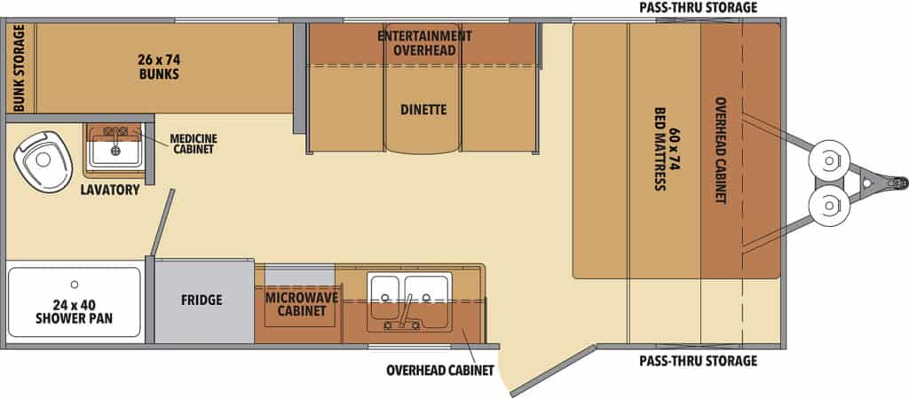 Shasta Oasis 18BH Floorplan